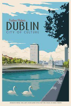 Ha'penny Bridge Dublin. Vintage Style Travel by thecanvasworks
