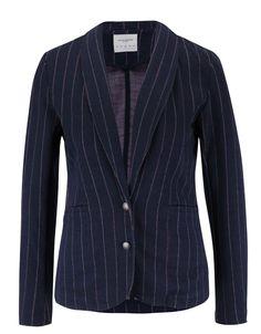 Vero Moda - Tmavě modré sako s proužky a nezakončeným lemem  Siff - 1