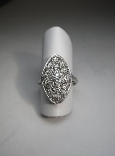 Antique Platinum Marquis Diamond Cluster Ring.