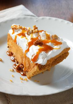 Turtle Pumpkin Pie — This recipe takes dessert to a whole new level, with drizzled caramel, chopped pecans, and airy COOL WHIP Whipped Topping. Cue the applause.