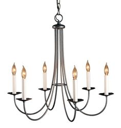 Simple Sweep 6-Arm Chandelier Natural Iron finish