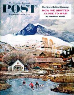 Saturday Evening Post - 1958-12-13: Ice Hockey on Mountain Pond (John Clymer)