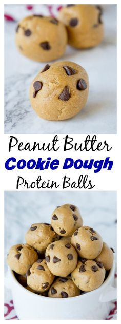 Peanut Butter Cookie Dough Protein Balls - An easy and healthy protein ball reci. - Peanut Butter Cookie Dough Protein Balls – An easy and healthy protein ball recipe that tastes li - Healthy Protein Snacks, Protein Desserts, Protein Brownies, Protein Bites, Protein Foods, Healthy Desserts, High Protein, Energy Bites, Healthy Recipes
