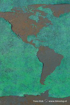 Part of the Peeling Paint World Map (blue version), showing North and South America - gedeelte van de Afbladderende Wereldkaart (blauwe versie) met Noord- en Zuid-Amerika