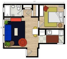 Tabitha's Infusion of Color 375 sq ft home Apartment Therapy, House Tours, Tiny House, Small Spaces, Living Spaces, Floor Plans, Flooring, How To Plan, Color