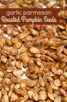Garlic Parmesan Roasted Pumpkin Seeds - the perfect savory and delicious fall snack! Garlic Parmesan Roasted Pumpkin Seeds - the perfect savory and delicious fall snack! Pumpkin Seed Recipes Baked, Flavored Pumpkin Seeds, Savory Pumpkin Seeds, Perfect Pumpkin Seeds, Homemade Pumpkin Seeds, Toasted Pumpkin Seeds, Roast Pumpkin, Baked Pumpkin, Candy