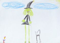 witch and the black cat. crayon. 2014. A4.