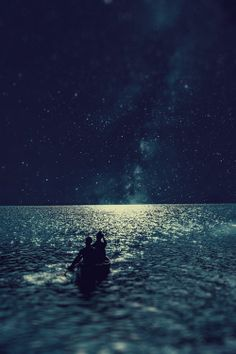 in the boat at night