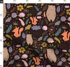 digital, pattern, autumn, forest, bush, animals, fox, bear, hedgehog, cute, adorable, flowers, love, heart, fern, leaves, acorn, woodland, thanksgiving, fall, nursery, kid, children, textile, fabric, quilt, decoration, design, interior, bedroom, playful, Autumn Forest, Forest Animals, Dark Backgrounds, Digital Pattern, Acorn, Custom Fabric, Spoonflower, Hedgehog, Woodland