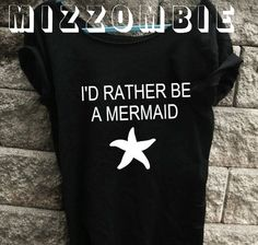 MERMAID  Tshirt, Off The Shoulder, Over sized, street style slouchy, loose fitting, graphic tee, screen printed by hand, women's, teens. on Etsy, $20.00