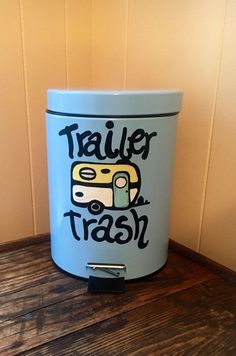 This painted trash can would be a wonderful addition to your camper or RV decor! This would also make a wonderful funny Christmas gift! This listing is for a 5 Liter/ 1.3 Gallon Trash Can handpainted with love! The trash can comes in blue (as pictured), white, black or peach- please specify your color at check out :) Customization is welcome! Please let me know if you would like different words or colors on the painting! :) Thank you for visiting our shop! Wed love to create something just f...
