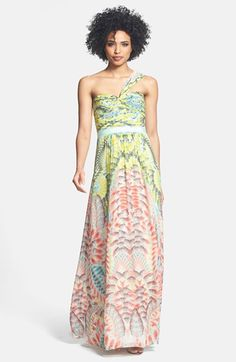 4a52f7e1 BCBGMAXAZRIA Print One-Shoulder Silk Chiffon Maxi Dress Chiffon Maxi Dress,  Silk Chiffon,