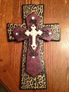 Cheetah, Red and Cream, Stacked and Layered Decorative Wooden Cross w/ Iron Scrolls on Etsy, $45.00
