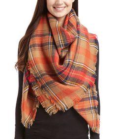 This Orange Plaid Blanket Scarf is perfect! #zulilyfinds