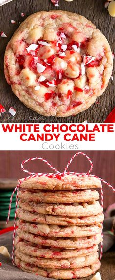These White Chocolate Candy Cane Cookies are crispy, chewy and delicious. The perfect sweet treat for the holidays! Amazing Cookie Recipes, Holiday Cookie Recipes, Holiday Baking, Christmas Desserts, Christmas Treats, Christmas Recipes, Candy Cane Cookies, Peppermint Cookies, Yummy Cookies