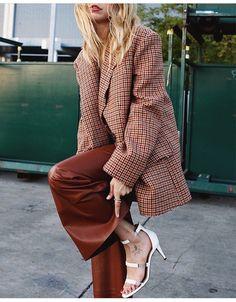 Fall tones- rust color pants + plaid oversized blazer