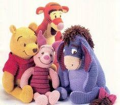 Disney Winnie the Pooh and friends Amigurumi. Especially love Tigger and Pooh Crochet Books, Knit Or Crochet, Cute Crochet, Crochet For Kids, Crochet Crafts, Crochet Baby, Crochet Projects, Crocheted Toys, Amigurumi Patterns