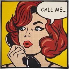 Call Me - Pop Art Style Canvas Print with Red Head - Bestoka Comics Pop Art Vintage, Bd Pop Art, Pop Art Girl, Comic Books Art, Comic Art, Desenho Pop Art, Comics Vintage, Sketch Manga, Retro Kunst
