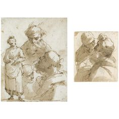 Gaetano Gandolfi (1734–1802), TWO STUDIES ON ONE MOUNT; Pen and brown ink and wash