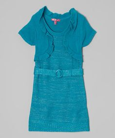 This ever-so-stylish dress with attached shrug offers the perfect layered look for little ones on the go. Featuring a subtle ruffled trim up top and soft belt at the waist, it's packed with fashionable and versatile appeal.