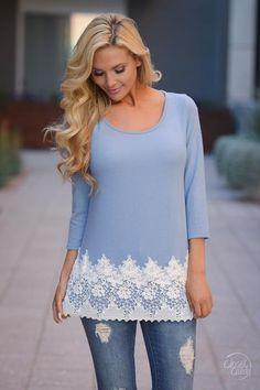 Sunny Days Ahead Crochet Hem Top - Sky Blue