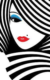 woman in stripes Art Pop, Illustrations, Illustration Art, Poster Design, Poster S, Face Art, Modern Art, Art Drawings, Art Projects
