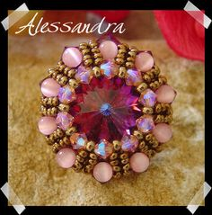 Free pattern for pendant, brooch or ring Alessandra by Athena.  (Part 1 of 3).  U need:    1 rivoli or button 16mm    10 bicone beads 4mm    10 fire polished beads 4mm    10 fire polished beads 3mm    10 bicone beads 6mm    10 round beads 4mm    seed beads  - See more at: http://beadsmagic.com/?p=960#more-960