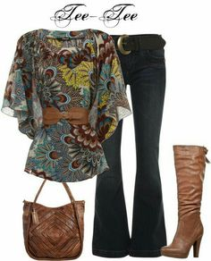 Pretty top but I wouldn't wear the belt! Like the boots and purse also but would wear straight leg pants. Or with dress pants Fashion Mode, Look Fashion, Winter Fashion, Womens Fashion, Daily Fashion, Mode Outfits, Winter Outfits, Casual Outfits, Fashion Outfits