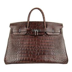Hermes birkin crocodile big veins bag dark coffee leather with silver hardware ☺. ☺. ✿