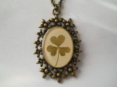 Real clover necklace resin jewelry shamrock pendant by LightPurple