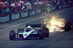 Andrea de Cesaris (Brabham-BMW BT56) & Stefan Johansson (McLaren-TAG Porsche MP4/3), 1987 Austrian GP, Österreichring
