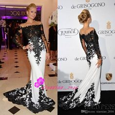 White And Black 2016 Mermaid Evening Dresses with Sheer Off Shoulder Lace Applique Long Sleeves Prom Party Celebrity Red Carpet Runway Gowns Online with $140.1/Piece on Xiaoxiao_2016's Store | DHgate.com