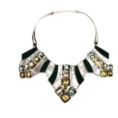Isabel Englebert - Art Deco Necklace ($7,185) ❤ liked on Polyvore featuring jewelry, necklaces, deco jewelry, leather necklace, genuine leather necklace, art deco jewellery and leather jewelry