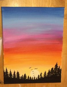 How To Paint A Sunset In Acrylics - Hot Air Balloon Silhouette Learn how to paint an easy sunset painting and hot air baloon silhouettes with acrylics. This tutorial will guide you through the steps! Christmas Paintings On Canvas, Simple Canvas Paintings, Small Canvas Art, Cute Paintings, Easy Canvas Painting, Diy Canvas Art, Sunset Paintings, Sunset Acrylic Painting, Watercolor Sunset