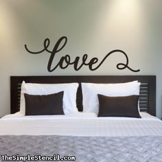 "A romantically styled ""love"" wall decal to adorn the walls of your bedroom, over a child's bed or crib, as a wedding decoration or simply anywhere you want to express more love in your home decorating Home Bedroom Design, Home Decor Bedroom, Bedroom Wall, Diy Home Decor, Bedroom Ideas, Bedroom Designs, Bedroom Themes, Diy Projects For Bedroom, Couple Bedroom"