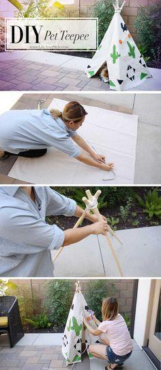 DIY Doggie {Pet} Teepee   LifeAnnStyle #cutecatsdiy