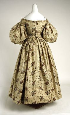 Afternoon dress Date: ca. 1835 Culture: American Medium: wool, silk Dimensions: (a) Length at CB (bodice): 7 1/2 in. (19.1 cm) (a) Length at CB (skirt): 37 3/4 in. (95.9 cm) (b) Length at CB: 14 1/4 in. (36.2 cm)