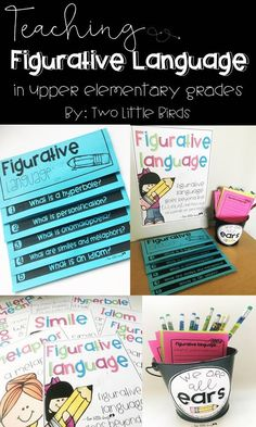 Grades 3-5: Introduce figurative language with a double sided flip book, posters, power point slides, anchor charts and more!