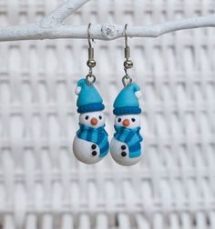 Christmas Snowman Earrings, Polymer Clay Christmas Earrings, Decoration Christmas Earrings, Handmade Clay Christmas Earrings, Scarf Clay