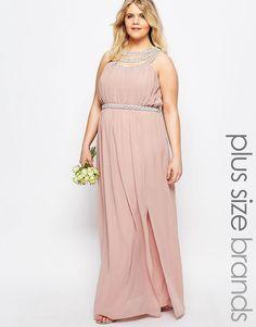 TFNC Plus   TFNC Plus WEDDING Multi Row Embellished Maxi Dress at ASOS