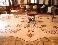 """Czar Floors was commissioned to install this custom office floor for an oil company headquartered in Eastern Europe. """"They just said they didn't want stuff that anybody would recognize.  They wanted unique, so it wan an absolutely custom installation."""""""