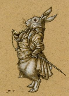 UK artist Niroot Puttapipat Illustration (FB) aka Himmapaan Niroot - The White Rabbit. Pencil, ink and gouache on recycled paper, 2.5 x 3.5 inches. http://himmapaan.wordpress.com/2014/01/29/the-white-rabbit/