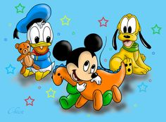 Disney - Mickey, Donald and Pluto by ChiisaYanagi on DeviantArt Baby Mickey, Mickey Minnie Mouse, Disney Mickey, Donald Disney, Snoopy, Baby Cartoon, Doraemon, Fabric Painting, Cute Babies
