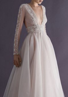 Deep V neckline with long sleeve wedding dress | Romantic Wedding Dresses | itakeyou.co.uk #weddingdress #bridalgown #bridaldress #wedidnggown #ballgown #romantic
