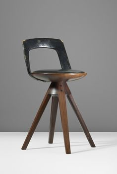 Tove & Edvard Kindt-Larsen; Rosewood, Leather and Brass Stool for Thorvald Madsen Snedkeri, 1957.