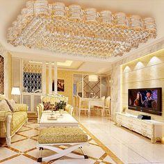 Luxus LED Decken Energie Spar Lampe rund Wohn Zimmer Lobby Chrom Kristalle klar