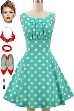 141075-1950s pinup vintage rockabilly green&white dots sun dress [141075] - £24.99 : Queen of Holloway, Dressing Shop