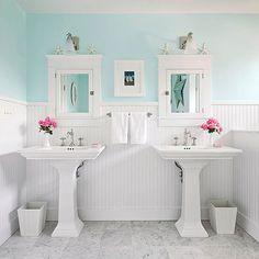 Bring the beach home with our classic look here: http://www.bhg.com/decorating/decorating-photos/bathroom/beachy-bathroom/?socsrc=bhgpin011015beachybathroom&bathroom