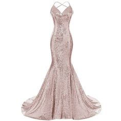DYS Women's Sequins Mermaid Prom Dress Spaghetti Straps V Neck... ❤ liked on Polyvore featuring dresses, gowns, white homecoming dresses, white prom dresses, backless prom dresses, backless white gown and sequin prom dresses