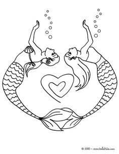 Mermaid Couple For Heart Coloring Pages